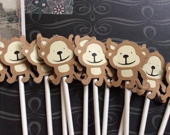 12 Adorable Hanging Monkey  Cupcake toppers