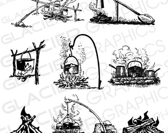 Campfire clipart | Etsy
