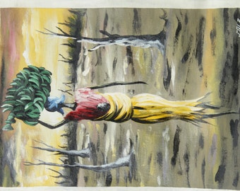 African Painting - (Rebirth) Oil on flour sack Hand painted in Ghana,Original painting, not print,colourful painting