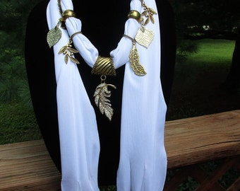 White Scarf with Gold Leaf