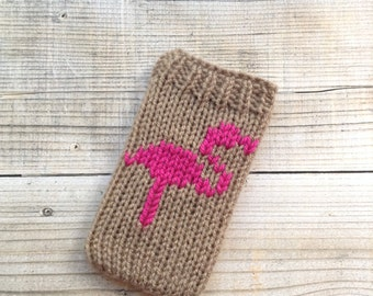 Flamingo phone cosy
