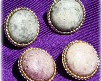 Button Earrings Mottled Color Gray or Pink