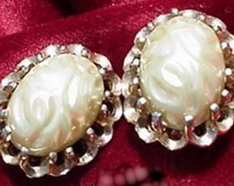 Creamy Pearl Colored Clip on Oval Earrings