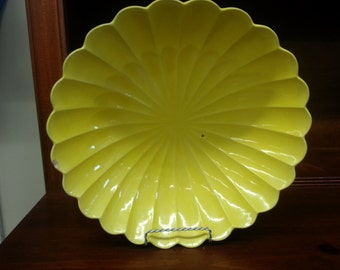 Large Vintage Yellow Scalloped Ceramic Bowl Made in the USA