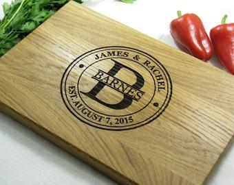 Personalized Cutting Board Monogram Custom Engraved, Custom Wedding, Housewarming, Engagement, Anniversary Gift Cutting Board Personalized