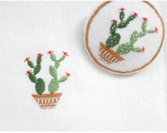 Machine embroidery pattern design 'cactus', digital file instant download
