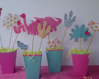 Girl Dino Party Pack - Center Pieces, Banner, Gift bags, and More