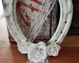 Horseshoe, Shabby chic Wedding Horseshoe, Lucky Horseshoe, Good Luck horseshoe, Horseshoe with Roses, White shabby chic,  Housewarming