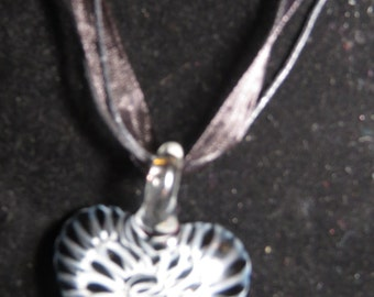 Spiral heart glass pendant necklace