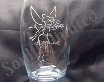 FAIRY like TINKABELL hand engraved glass - ALL text is free!! magic