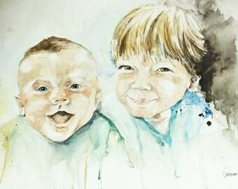 Watercolor portrait of two siblings