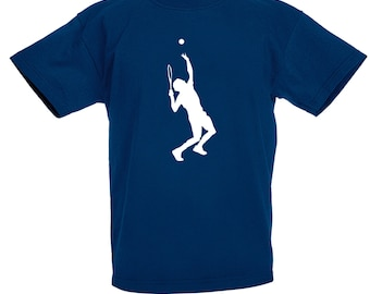 Kids Tennis Player T-Shirt / Childrens Tennis T Shirt in Navy Blue, Blue, Grey, Orange, Pink / Ages: 3-4, 5-6, 7-8, 9-11, 12-13