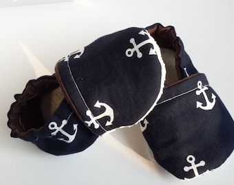 BOGO - code BOGO7 Anchor Soft sole shoes Anchor Moccasins Nautical Moccasins Nautical Soft sole shoes, Nautical crib shoe