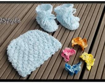 Baby boy set/Newborn/knitting baby/Hat and boot/baby clothing/Gift