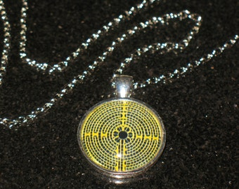 Yellow Chartres Labyrinth 25mm Glass Cabochon Pendant Necklace 24 inch