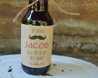 Groomsmen Beer Bottle Labels, Personalized Best Man Gift, Be My Best Man, Groomsmen Gift, Mustache Proposal, Personalized PDF Printable
