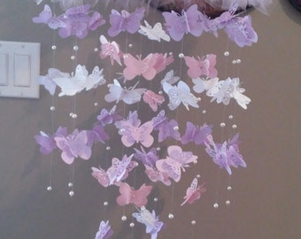 Large Pink, Lilac and White Butterfly Mobile