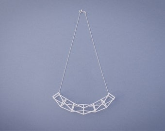 Architectural 3D Printed Necklace with Sterling Silver Chain