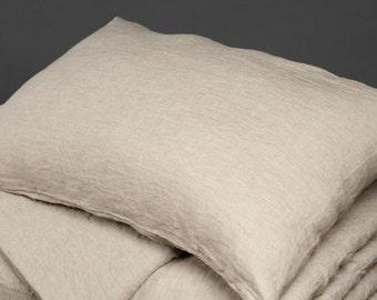 Eco Linen Pillow case, Linen Bedding, Linen Pillow case, Organic Grey Linen Pillow case