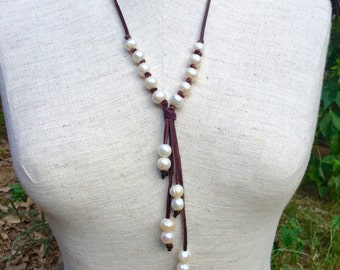 Genuine freshwater pearl and leather  necklace, pearl and leather necklace, Y necklace, pearl drop necklace, bohemian necklace, beach style