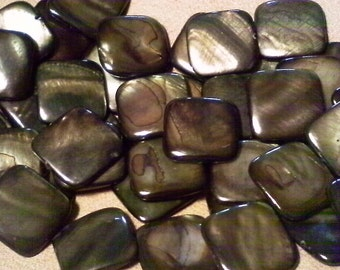 Shell beads; dyed Mother of Pearl, deep olive-gray, smooth square beads, 18x18x2mm, 8pcs/2.40
