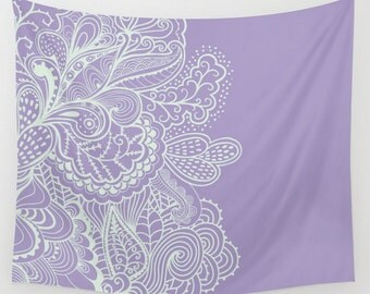 Purple Lilac Violet Wall Tapestry Mehndi India Indian Henna Design Boho Bohemian Shabby Chic Dorm Room Home Decor