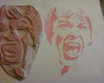 Hand Carved Rubber stamp Psycho