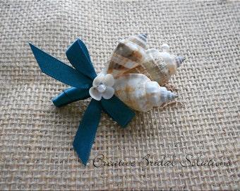 Seashell Groom Groomsmen Wedding Boutonniere, Button Hole- Teal
