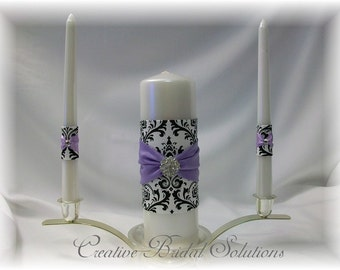 Black and White Madison Damask with Violet Wedding Unity Candle Set, Violet Unity Candle, Madison Unity Candle, Damask Wedding Unity Candle