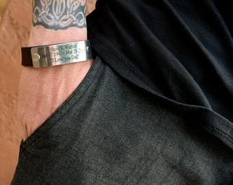Memorial Bracelet (Leather / Riveted Stainless Steel Plate) Memorial Bracelet / In Memory of Bracelet / Memorial Jewelry  / In Loving Memory