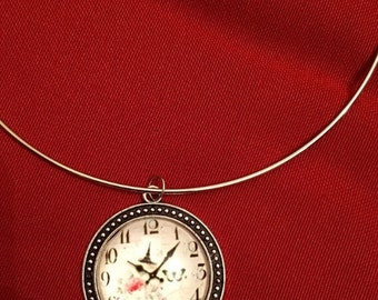Round Clock Glass Pendant Necklace