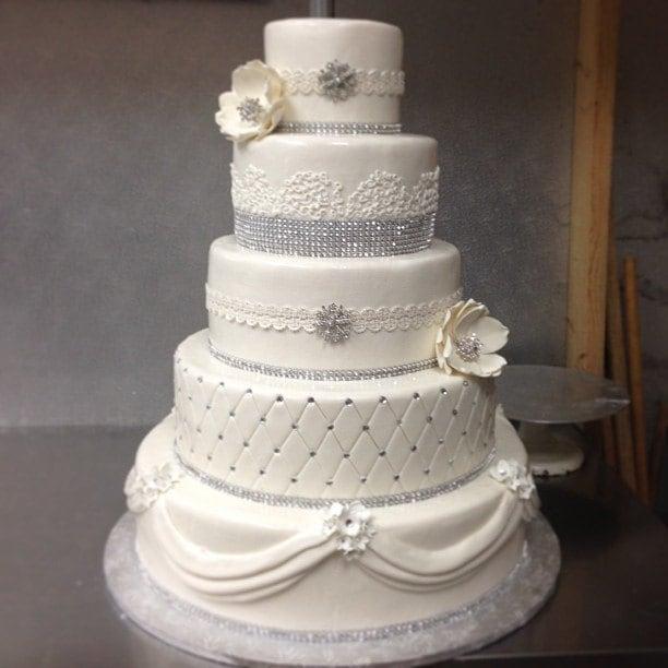 Wedding Cake Diamond Ribbon Rhinestone Silver By