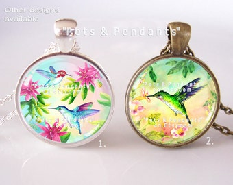 Hummingbirds Photo Pendant, Bird Picture Pendant Necklace