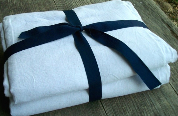 Bundle of Vintage French Fabric white Linen Material Blocks Remnants
