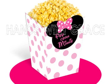 Printable popcorn box Minnie Mouse