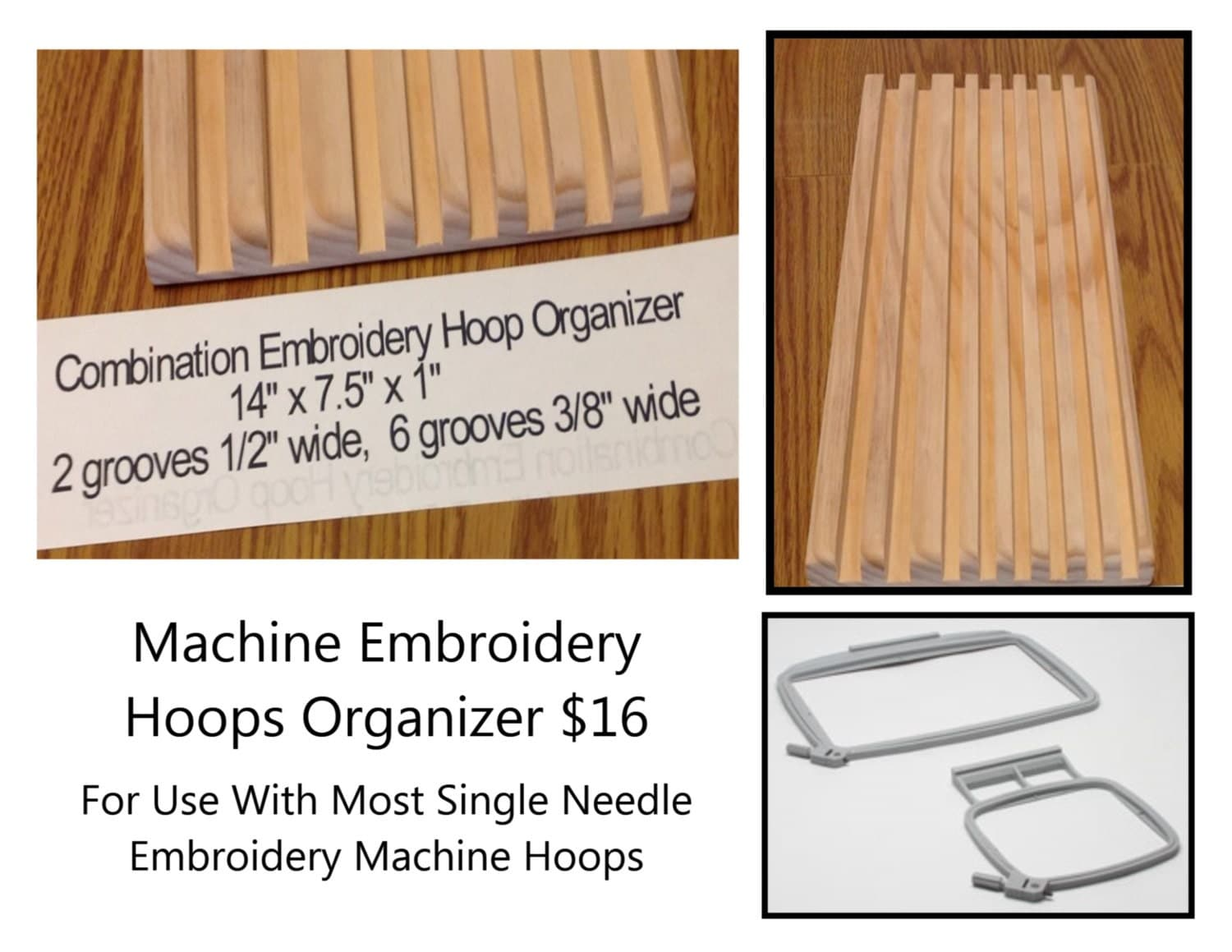 Combination embroidery hoops organizer x