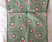 "Set of 5 Vintage Cotton Napkins Christmas Holiday 9"" Square"