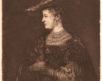 Saskia after Rembrandt  William Unger Original Etching 19th Century