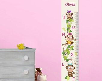 Personalized Girls Growth / Height Chart - Monkeys