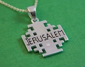 Big Jerusalem Cross Sterling Silver / Jerusalem Cross / Silver Cross / Christian Religious / Jewelry Crucifix / Cross Pendant Necklace