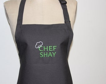 "Personalized Men's Apron with ""Chef and Name"" - Charcoal  Mens aprons, mens grilling apron, mens tall aprons, mens BBQ aprons"
