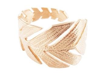 Gold Pink Leaf Ring