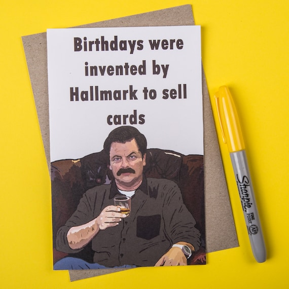 Ron Swanson Birthday Card Parks and Recreation card Parks