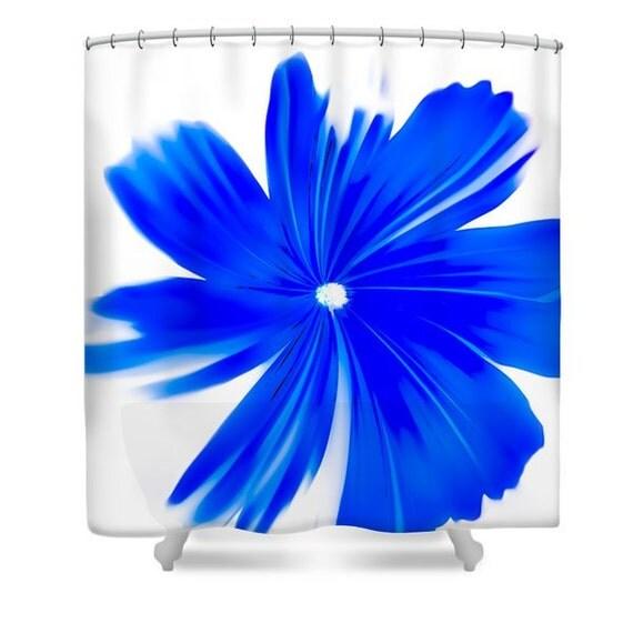Blue Floral Shower Curtain Floral Print Bathroom Curtain