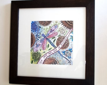Dragonfly painting,SALE,framed dragonfly art print,oak frame,ART SALE,dragonfly print,mandala art,spiritual art,zentangle,positive words