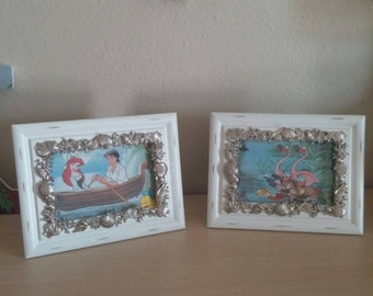 Framed Storybook Pages from Disney's The Little Mermaid - Kiss the Girl