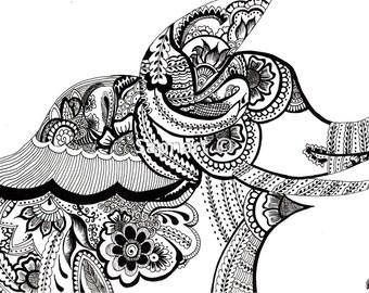 Abstract Asian Elephant