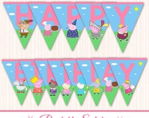 Peppa Pig Banner - Peppa Pig Birthday Banner - Peppa Pig Party - INSTANT DOWNLOAD - Peppa Pig Birthday - Peppa Pig Prints