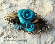Turquoise Roses barrette, floral love gift, Valentine's Day gift with roses, vintage barrette blue roses, flower barrette, polymer clay rose