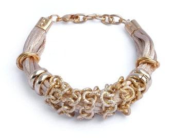 Tan Aluminum Statement Bracelet (Ultra Lightweight Gold and Tan Plated Designer Fabric Intertwined Fashion Bracelet Jewelry NU115-BR)
